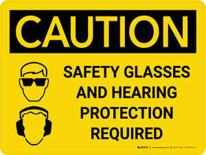 Caution: PPE Safety Glasses and Hearing Protection Required Landscape With Icon - Wall Sign
