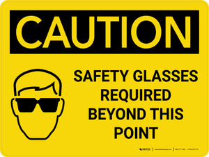 Caution: PPE Safety Glasses Required Beyond This Point Landscape With Icon - Wall Sign