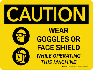Caution: PPE Wear Goggles of Face Shield While Operating Machine Landscape With Icon - Wall Sign