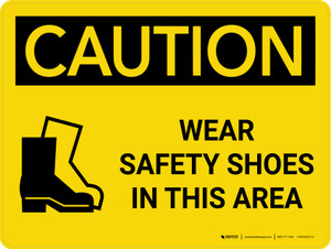 Caution: PPE Wear Safety Shoes in This Area Landscape With Icon - Wall Sign