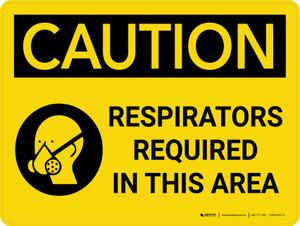 Caution: Respirators Required in This Area Landscape With Icon - Wall Sign
