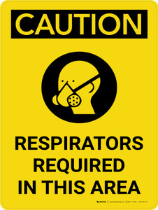 Caution: Respirators Required in This Area Portrait With Icon - Wall Sign