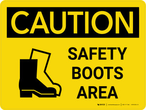 Caution: Safety Boots Area Landscape With Icon - Wall Sign