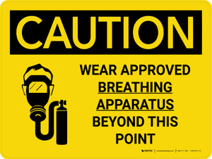 Caution: Wear Approved Breathing Apparatus Beyond Point Landscape With Icon - Wall Sign