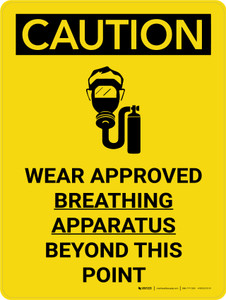 Caution: Wear Approved Breathing Apparatus Beyond Point Portrait With Icon - Wall Sign