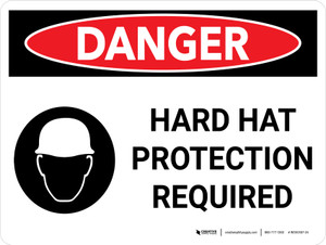 Danger: Hard Hat Protection Required Landscape with Icon - Wall Sign