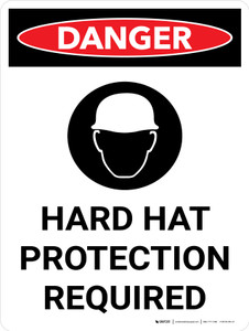 Danger: Hard Hat Protection Required Portrait with Icon - Wall Sign