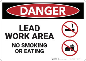 Danger: Lead Work Area No Smoking or Eating - Wall Sign