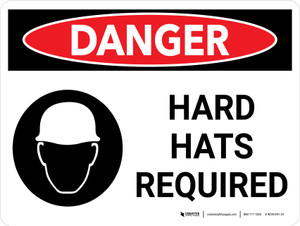Danger: Hard Hats Required Landscape with Icons - Wall Sign