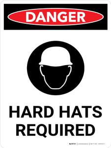 Danger: Hard Hats Required Portrait with Icon - Wall Sign