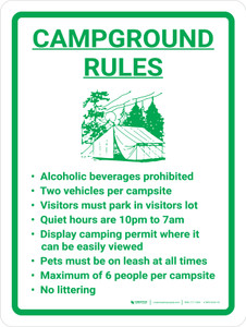 Campground Rules Portrait With Icon - Wall Sign