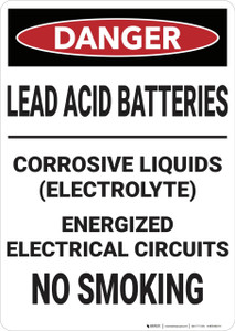 Danger: Lead Acid Batteries - Wall Sign
