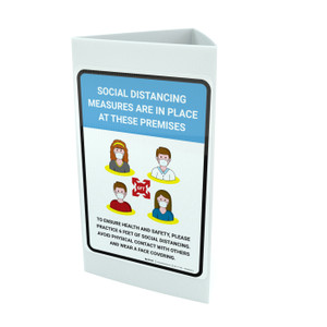 Social Distancing Measures Are In Place At These Premises with Icons Portrait - Tri-fold Sign
