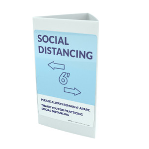 Social Distancing Please Always Remain 6' Apart with Icon Blue Portrait - Tri-fold Sign