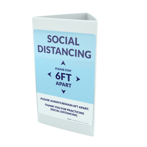 Social Distancing Please Stay 6Ft Apart Blue Portrait - Tri-fold Sign