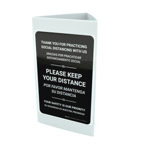 Thank You For Practicing Social Distancing With Us Black Bilingual Portrait - Tri-fold Sign