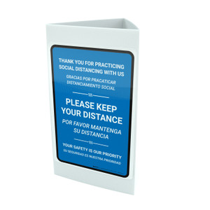 Thank You For Practicing Social Distancing With Us Blue Bilingual Portrait - Tri-fold Sign