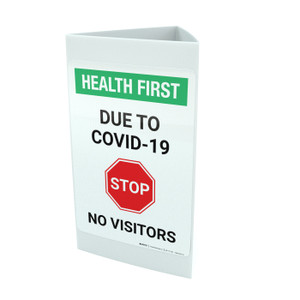 Health First: Stop Due To COVID-19 No Visitors with Icon Portrait - Tri-fold Sign