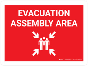 Evacuation Assembly Area Landscape with Graphic - Wall Sign