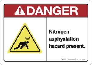 Danger: Nitrogen Asphyxiation Hazard ANSI - Wall Sign