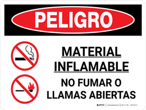 Danger: Flammable Material No Smoking Flames Spanish Landscape with Icon - Wall Sign
