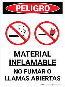 Danger: Flammable Material No Smoking Flames Spanish Portrait with Icon - Wall Sign