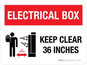 Electrical Box Keep Clear 36 inches Landscape with Graphic - Wall Sign