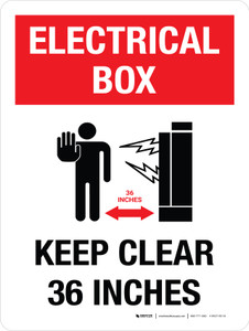 Electrical Box Keep Clear 36 inches Portrait with Graphic