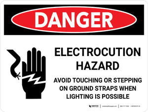 Danger: Electrocution Hazard Avoid Touching Landscape with Graphic - Wall Sign