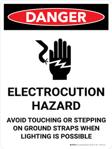 Danger: Electrocution Hazard Avoid Touching Portrait with Graphic - Wall Sign