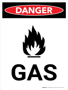 Danger: Gas Warning Portrait with Graphic - Wall Sign