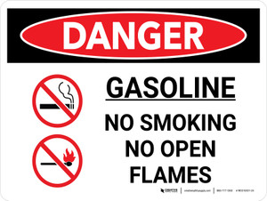 Danger: Gasoline No Smoking No Open Flame Landscape with Graphic - Wall Sign