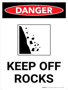 Danger: Keep Off Rocks Portrait with Graphic - Wall Sign