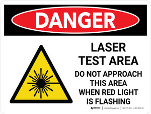 Danger: Laser Test Area Do Not Approach This Area When Light is Flashing Landscape with Graphic - Wall Sign