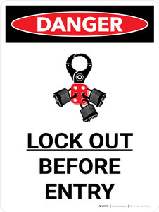 Danger: Lock Out Before Entry Portrait with Graphic - Wall Sign
