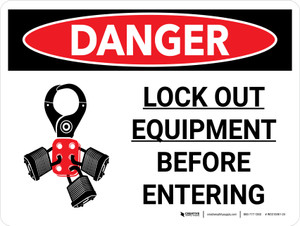 Danger: Lock Out Equipment Landscape with Graphic - Wall Sign