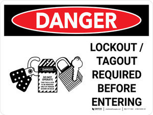 Danger: Lockout Tagout Required Before Entering Landscape with Graphic - Wall Sign