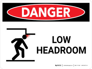 Danger: Low Headroom Warning Landscape with Graphic - Wall Sign