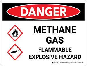 Danger: Methane Gas Flammable Explosive Hazard Landscape with Graphic - Wall Sign