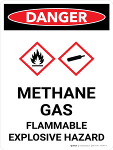 Danger: Methane Gas Flammable Explosive Hazard Portrait with Graphic - Wall Sign