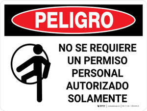 Danger: Non Permit Confined Space Spanish Landscape with Icon - Wall Sign