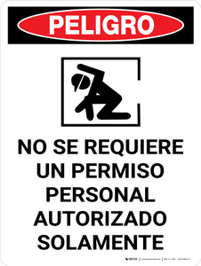 Danger: Non Permit Confined Space Spanish Portrait with Icon - Wall Sign