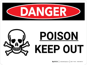 Danger: Poison Keep Out Landscape with Graphic - Wall Sign