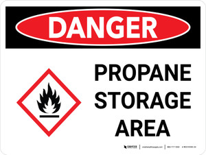 Danger: Propane Storage Area Landscape with Graphic - Wall Sign