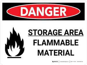 Danger: Storage Ara Flammable Material Landscape with Graphic - Wall Sign