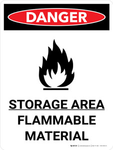 Danger: Storage Ara Flammable Material Portrait with Graphic - Wall Sign