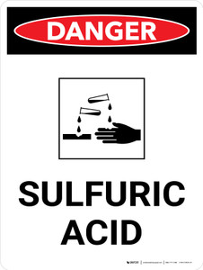 Danger: Sulfuric Acid Warning Portrait with Graphic - Wall Sign