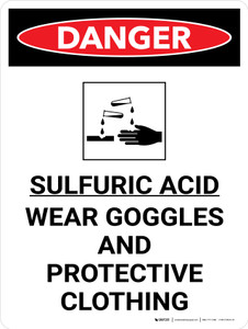 Danger: Sulfuric Acid Wear Goggles and Protective Clothing Portrait with Graphic - Wall Sign