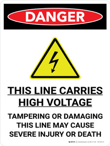 Danger: This Line Carries High Voltage Portrait with Graphic - Wall Sign