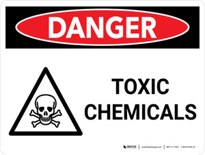 Danger: Toxic Chemicals Landscape with Graphic - Wall Sign